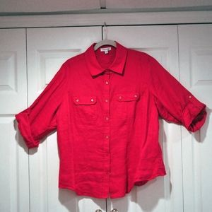 CALVIN KLEIN RED LINEN BLOUSE IN SIZE OX